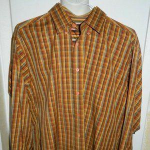 Bugatchi Uomo Long Sleeve Brown Orange Plaid Shirt